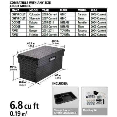 40.8 Matte Black Aluminum Full Size Chest Truck Tool Box