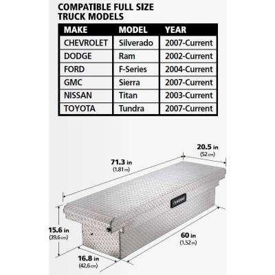 71.36 Diamond Plate Aluminum Full Size Crossbed Truck Tool Box