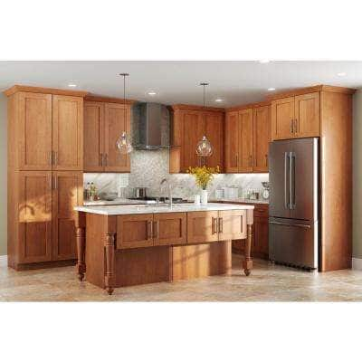 Hargrove Assembled 24x34.5x.75 in. Shaker Decorative End Panel for Base Kitchen Cabinet in Stained Cinnamon