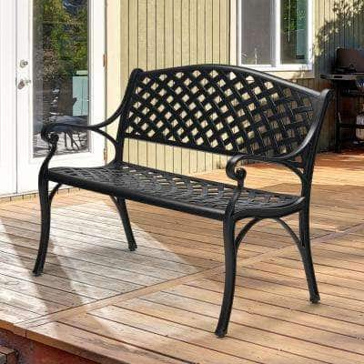 Classic 41 in. 2-Person Black Cast Aluminum Outdoor Bench