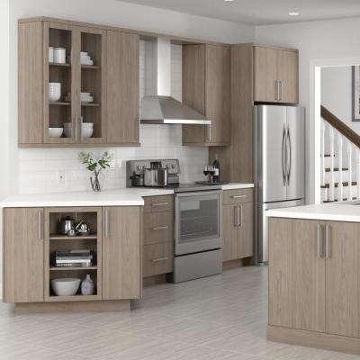 Designer Series Edgeley Assembled 36x34.5x23.75 in. Sink Base Kitchen Cabinet in Driftwood