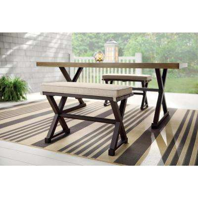 Mix and Match Farmhouse 2-Person Steel Outdoor Patio Bench with Tan Cushion