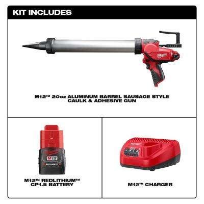 M12 12-Volt Lithium-ion Cordless 20 oz. Aluminum Barrel Caulk and Adhesive Gun Kit with(1) 1.5Ah Battery & Charger