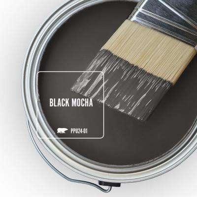 8 oz. #PPU24-01 Black Mocha Satin Enamel Interior Paint and Primer in One Sample