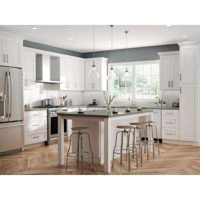 Shaker Ready To Assemble 36 in. W x 34.5 in. H x 24 in. D x Plywood Sink Base Kitchen Cabinet in Denver White
