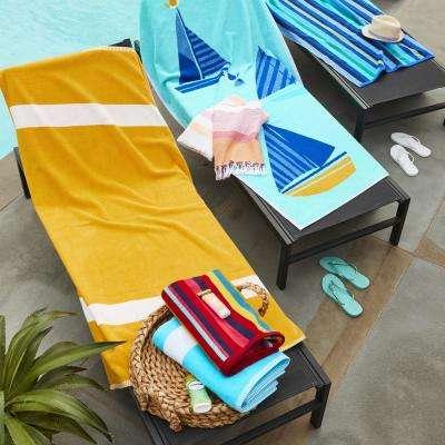 Wide Stripe Cotton Terry Beach Towel