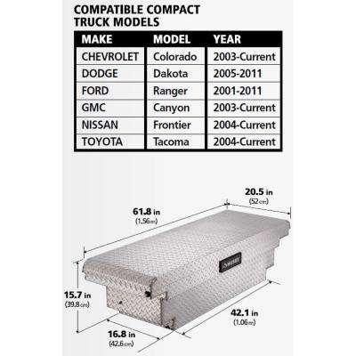 61.86 Diamond Plate Aluminum Low Profile Crossbed Truck Tool Box