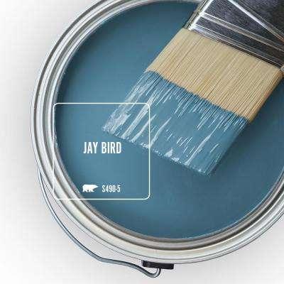8 oz. #S490-5 Jay Bird Satin Enamel Interior Paint and Primer in One Sample