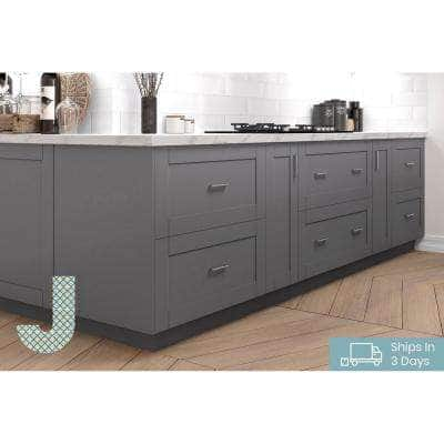 Shaker Assembled 36 in. x 34.5 in. x 24 in. Corner Base Cabinet with Lazy Susan Turn Table Accessory in Gray