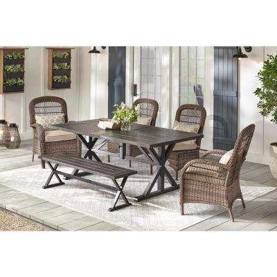 Beacon Park Brown Steel Outdoor Dining Bench