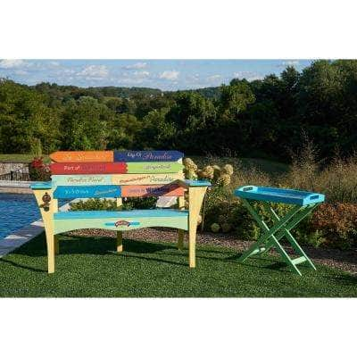 Southern Most Point Wood Bench with Bottle Cap Openers and Cup Holders