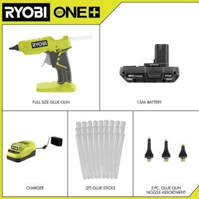 ONE+ 18V Cordless Full Size Glue Gun Kit w/ Battery, Charger, 3-Piece Glue Gun Accessory Nozzles and 24-Pack Glue Sticks