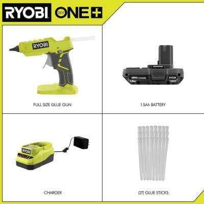 ONE+ 18V Cordless Full Size Glue Gun Kit with 1.5 Ah Battery, and 18V Charger with Extra 24-Pack 1/2 in. Glue Sticks