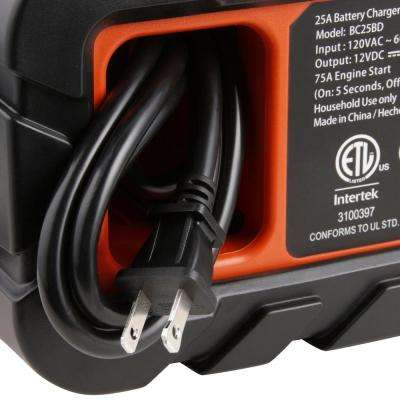 25 Amp Portable Car Battery Charger with 75 Amp Engine Start and Alternator Check