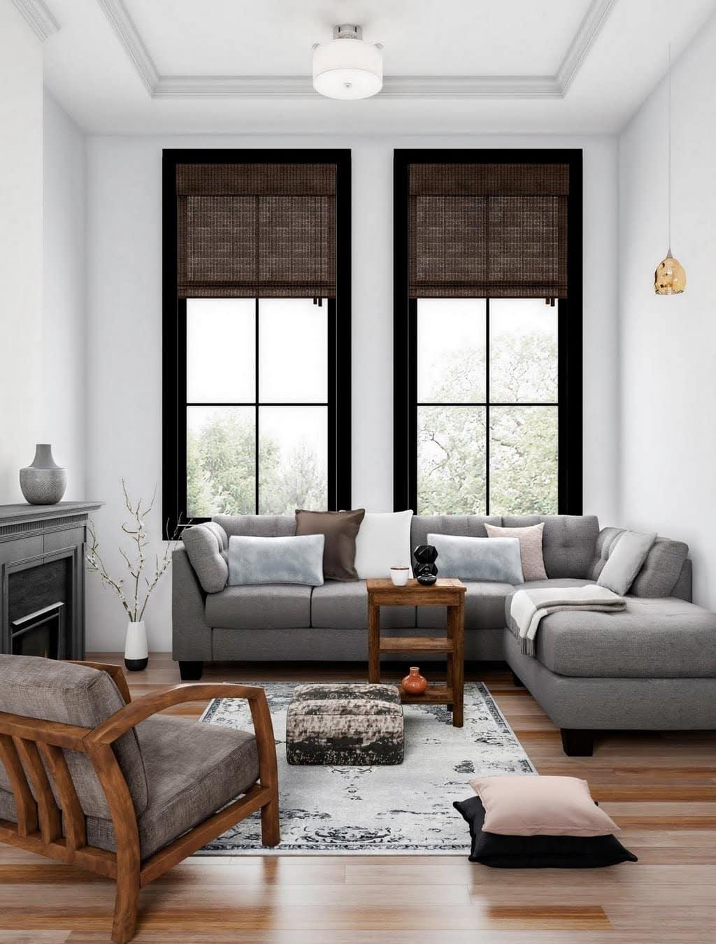 Neutral Midcentury Living Room