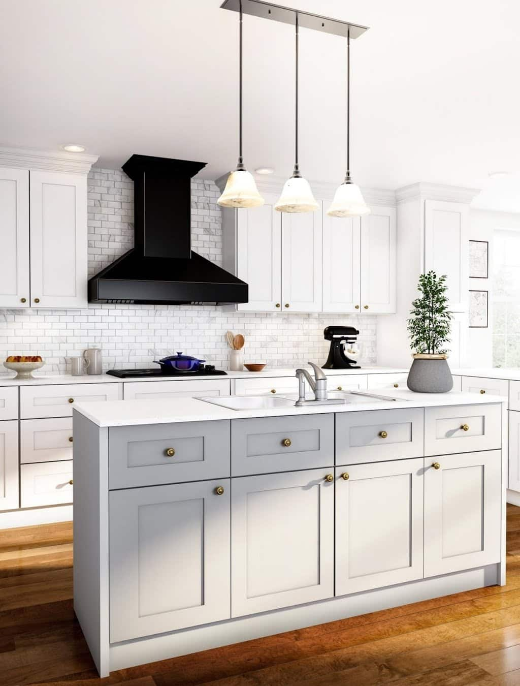Open White Kitchen with Contrasts