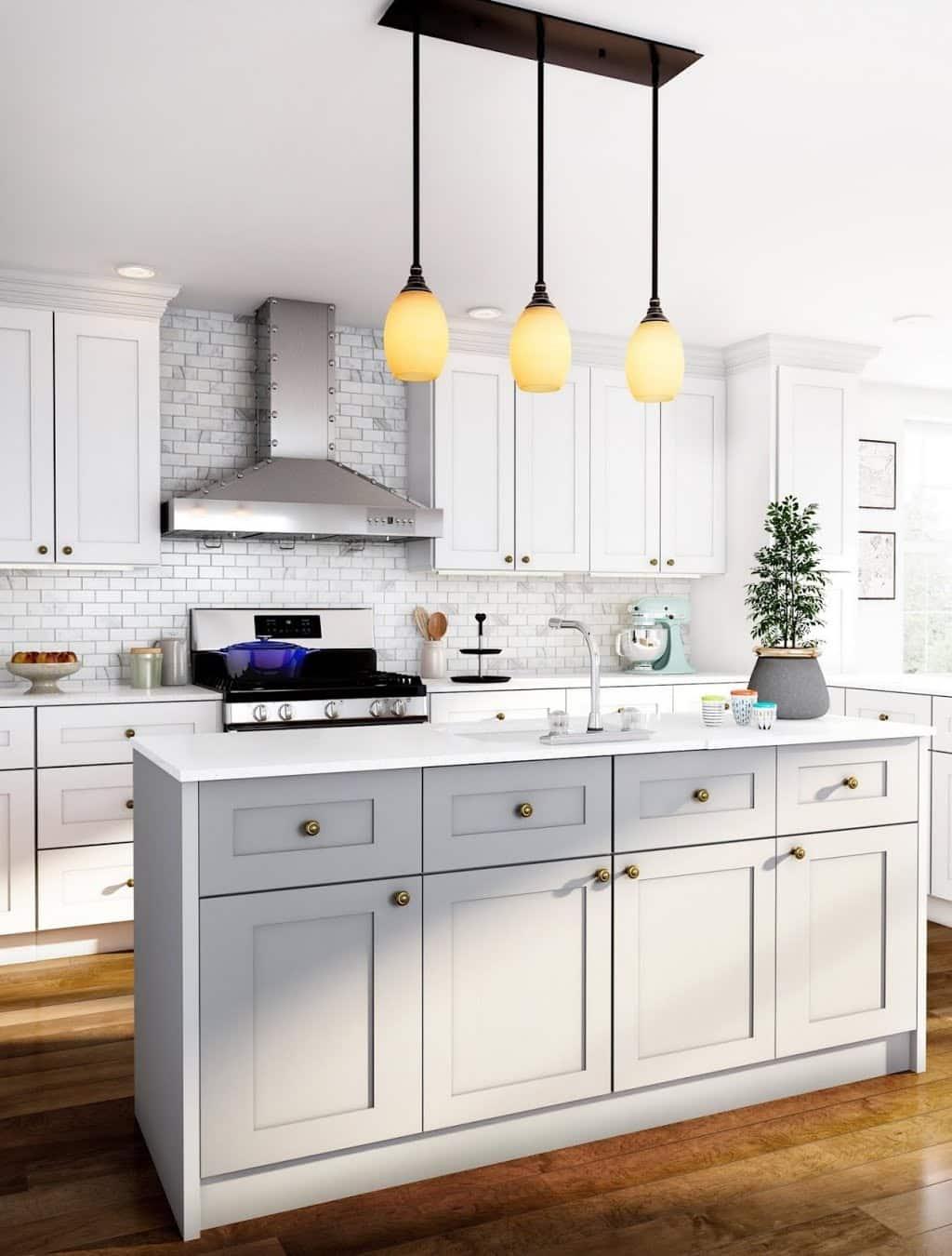 Open White and Silvertones Kitchen