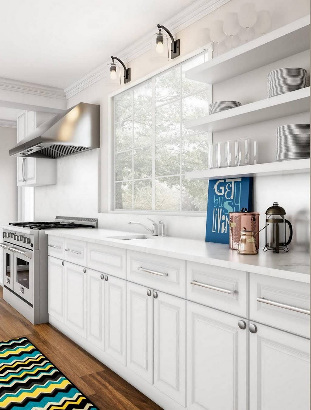 White Kitchen With Blue Accents Home The Depot