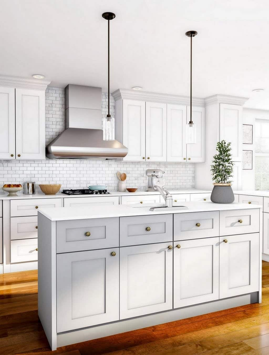 White and Pale Gray Classic Kitchen