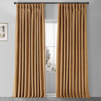 Amber Gold Velvet Rod Pocket Blackout Curtain - 100 in. W x 108 in. L