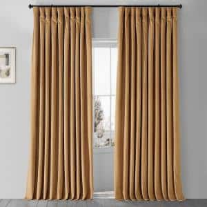 Amber Gold Velvet Rod Pocket Blackout Curtain - 100 in. W x 120 in. L