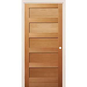 28 in. x 80 in. Left-Handed 5 Panel Shaker Unfinished Fir Wood Single Prehung Interior Door