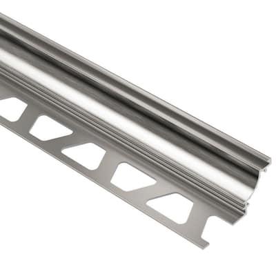 Dilex-AHK Brushed Nickel Anodized Aluminum 5/16 in. x 8 ft. 2-1/2 in. Metal Cove-Shaped Tile Edging Trim