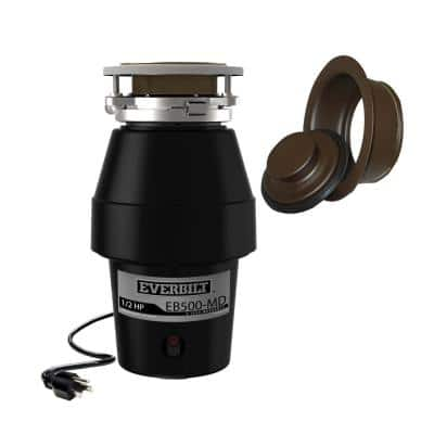 Designer Series 1/2 HP Continuous Feed Garbage Disposal with Oil Rubbed Bronze Sink Flange and Attached Power Cord