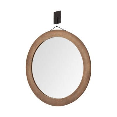 Large Round Brown Classic Mirror (43.50 in. H x 43.50 in. W)