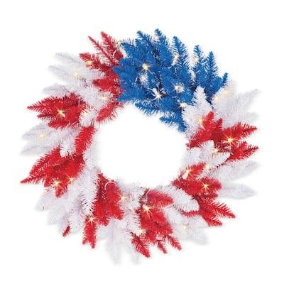 24 in. Dia Patriotic Wreath