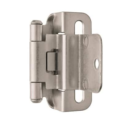 Satin Nickel 3/8 in. (10 mm) Inset Self-Closing, Partial Wrap Cabinet Hinge (1-Pack)