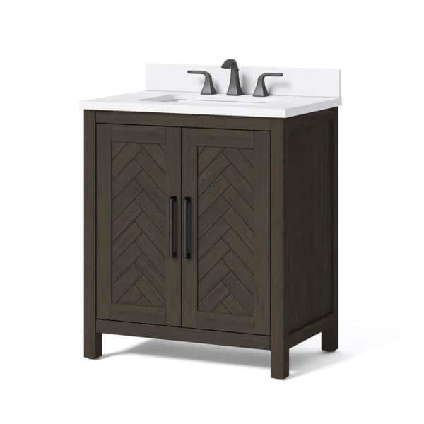 Home Decorators Collection Leary 30 In W X 34 5 In H Bath Vanity In Dark Brown With Engineered Stone Vanity Top In White With White Basin Hdc30hrv The Home Depot