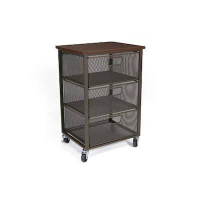 3 Tier Metal Mesh Mobile Cart in Black with Brown Top