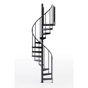 Condor Black Interior 42in Diameter, Fits Height 93.5in - 104.5in, 1 36in Tall Platform Rail Spiral Staircase Kit