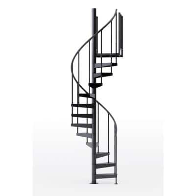 Condor Black Interior 42in Diameter, Fits Height 110.5in - 123.5in, 2 36in Tall Platform Rails Spiral Staircase Kit
