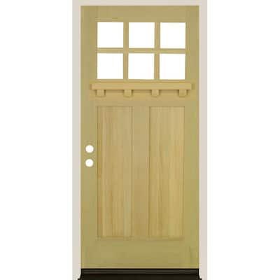 36 in. x 80 in. Craftsman Right Hand 6-LIte Unfinished Douglas Fir Prehung Front Door