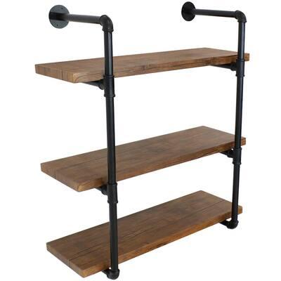 34.50 in. Teak Industrial Style 3-Tier Wall Bookshelf - Black Pipe Frame