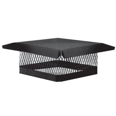 9 in. x 13 in. Galvanized Steel Fixed Chimney Cap in Black