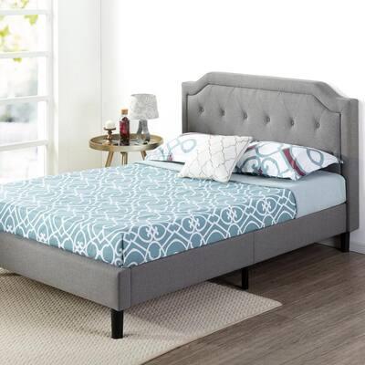 Kellen Upholstered Scalloped Platform Bed Frame, Queen