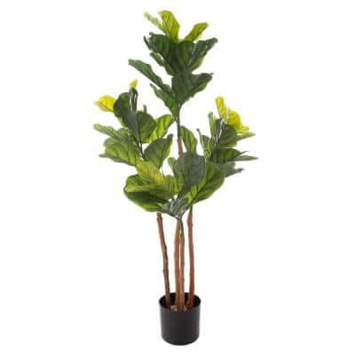 50 in. Artificial Fiddle Leaf Tree - Potted Faux Floor Plant with Natural Looking Greenery