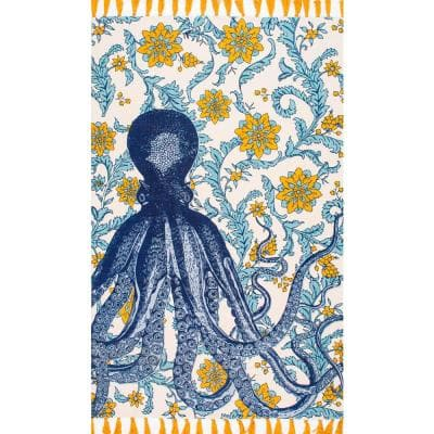Thomas Paul Contemporary Floral Octopus Multi 5 ft. x 8 ft. Area Rug