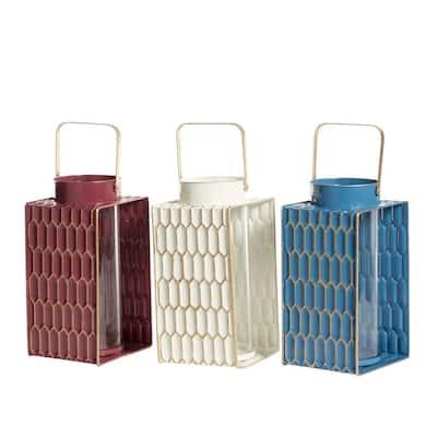 Multi Colored Metal Candle Lantern (Set of 3)
