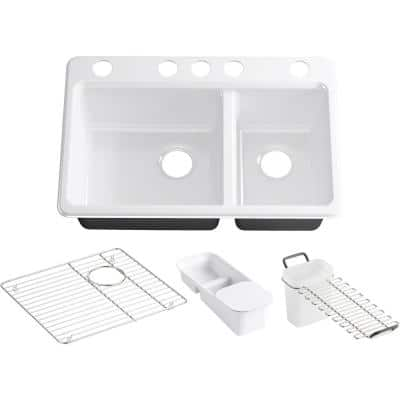 Riverby Undermount Cast Iron 33 in. 5-Hole Double Bowl Kitchen Sink Kit in White