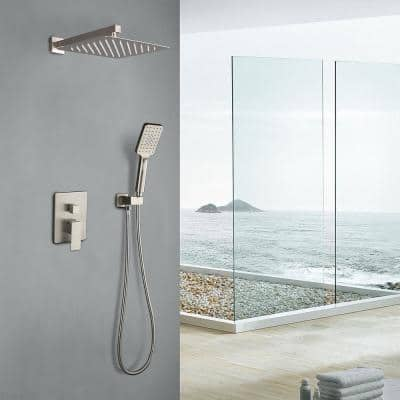 3-Spray with 2.5 GPM 10 in. 2 Functions Wall Mount Dual Shower Heads in Spot in Brushed Nickel (Valve Included)