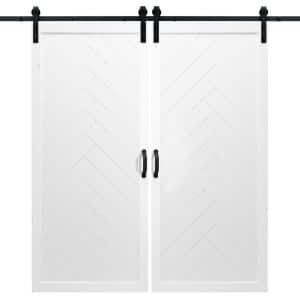 Dogberry 36 In X 84 In Classic Z White Double Sliding Barn Door With Hardware Kit D Zbar 3684 None Whit Dbhd The Home Depot