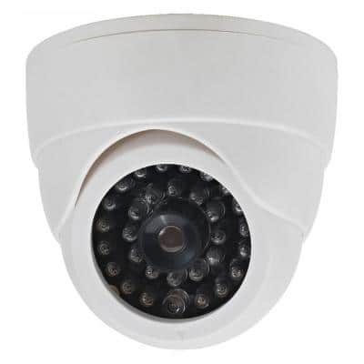 Fake Dummy Security Dome Camera with LED Light - White