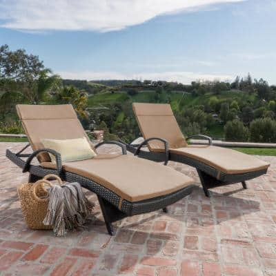 Salem Multi-Brown 2-Piece Wicker Outdoor Chaise Lounge with Caramel Cushions