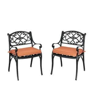 Sanibel Black Stationary Cast Aluminum Outdoor Dining Arm Chair with Coral Cushion (2-Pack)