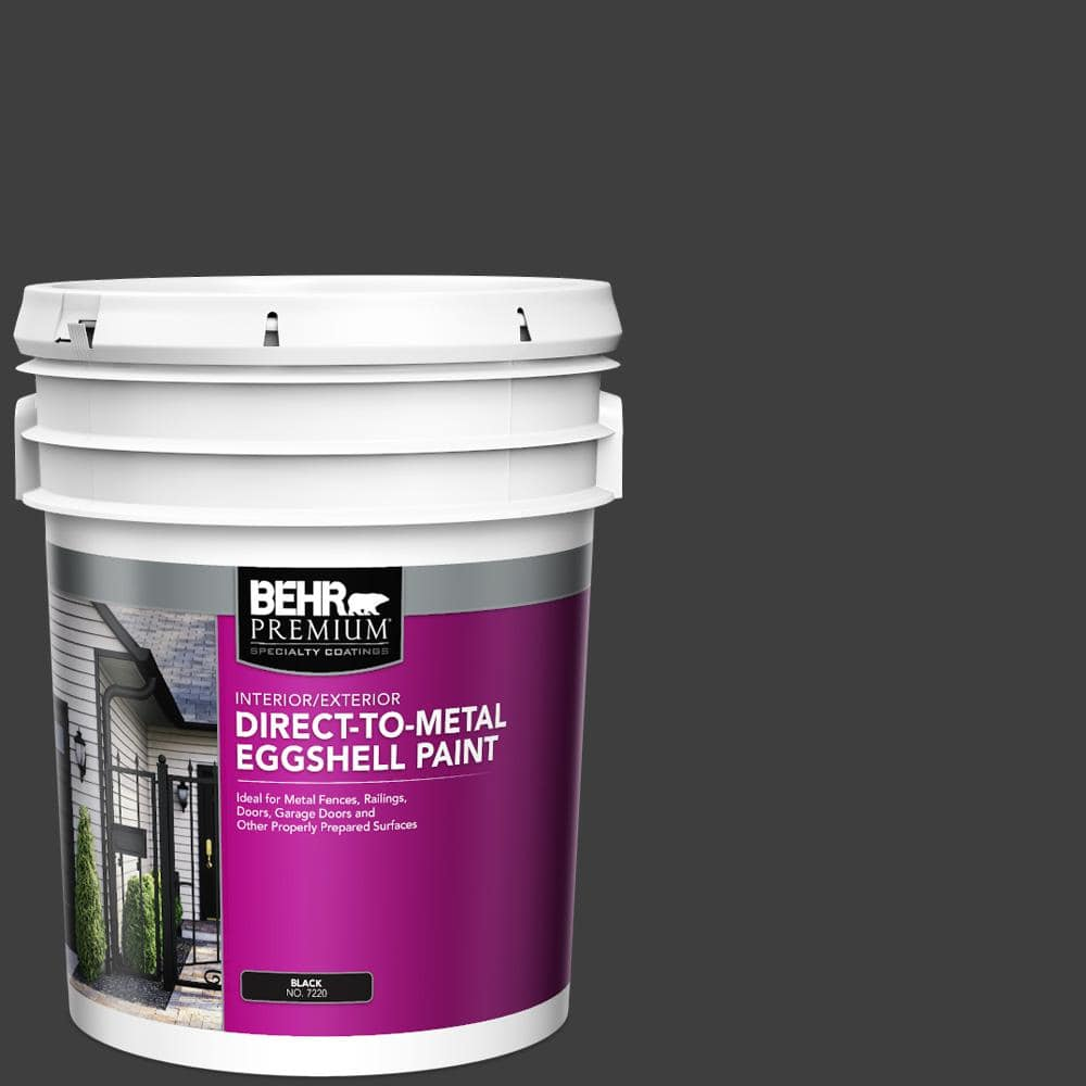 Behr Premium 5 Gal Black Eggshell Direct To Metal Interior Exterior Paint 722005 The Home Depot