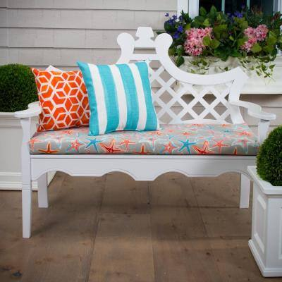 Starstruck Rectangular Bench/Porch Swing Cushion in Orange